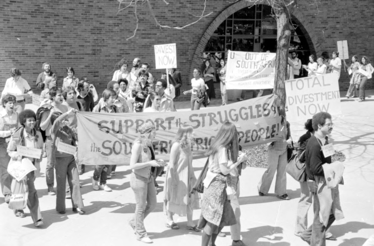 Apartheid : Protests Against : University of Michigan Students Demonstrating Against Apartheid In South Africa-Asking University to Divest of Stock in South Africa, April 19, 1979