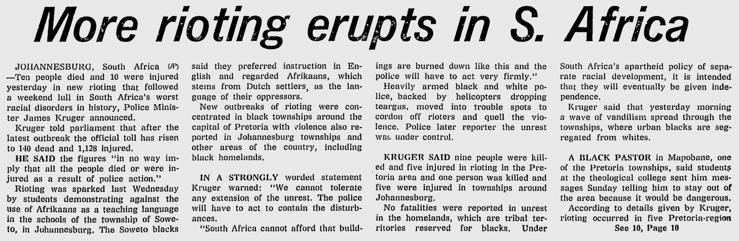 Act 1 In 10 African Americans Strongly >> More Rioting Erupts In S Africa Divestment For Humanity The
