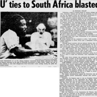 'U' ties to South Africa blasted