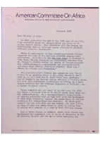 American Committee on Africa Letter, 1980