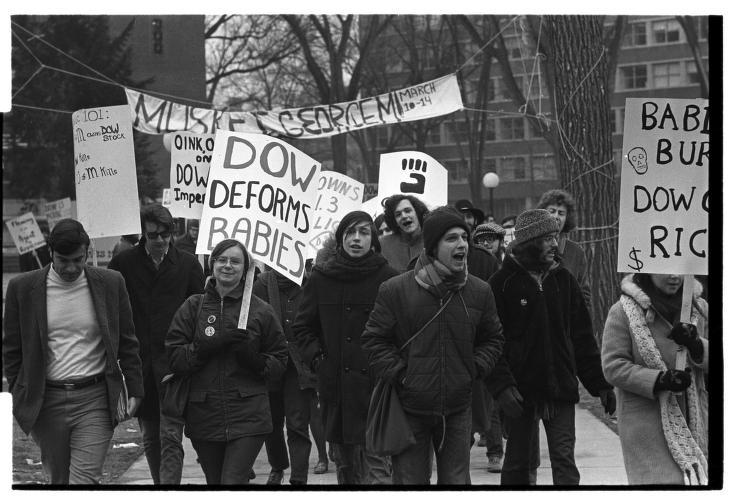 University of Michigan Students March Against Dow Chemical