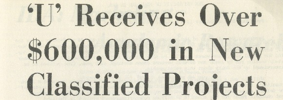 "Michigan Daily headline ""'U' Receives Over 600,000 in New Classified Projects"" by Jim Heck December 7, 1967"
