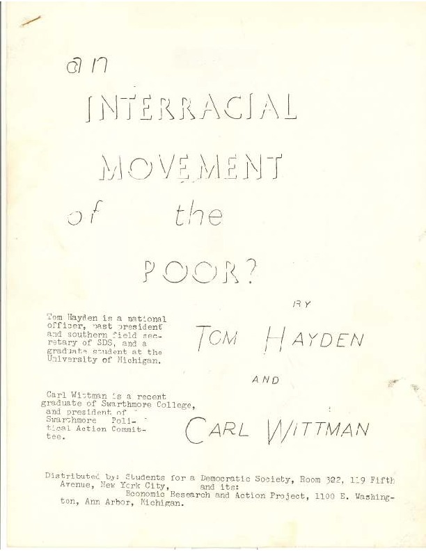 """""""An Interracial Movement of the Poor?"""" by Carl Wittman and Tom Hayden in 1963."""