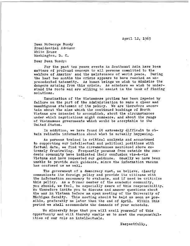 FacultyStudent Committee Invitation To Mcgeorge Bundy