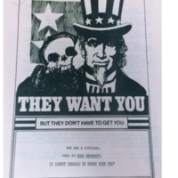 Flyer protesting the draft written by Paul Milgrom, a student at the University of Michigan