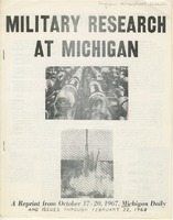 "Cover photo of a Michigan Daily examination of ""Military Research at Michigan"" in 1967-1968."
