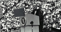 President Lyndon B. Johnson delivering a commencement address at University of Michigan on May 22, 1964.
