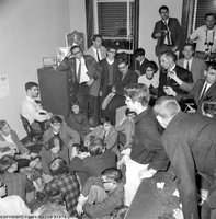 University of Michigan students and a faculty member, perform a sit-in at the Selective Service Office in Ann Arbor, MI.