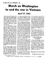 """SDS Flyer, """"A Call to All Students to March on Washington to End the War in Vietnam April 17, 1965"""""""