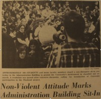 """Non-Violent Attitude Marks the Administration Building Sit-in"" picture by Jay Cassidy."