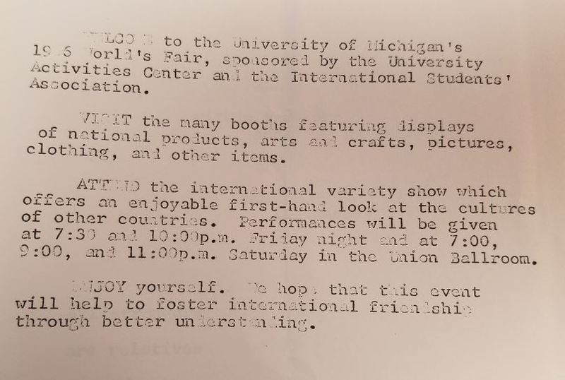 University of Michigan 1966 World's Fair Sovenir Booklet, p 1.