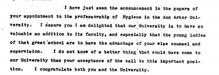 J. H. Kellogg writes to Dr. Eliza Mosher