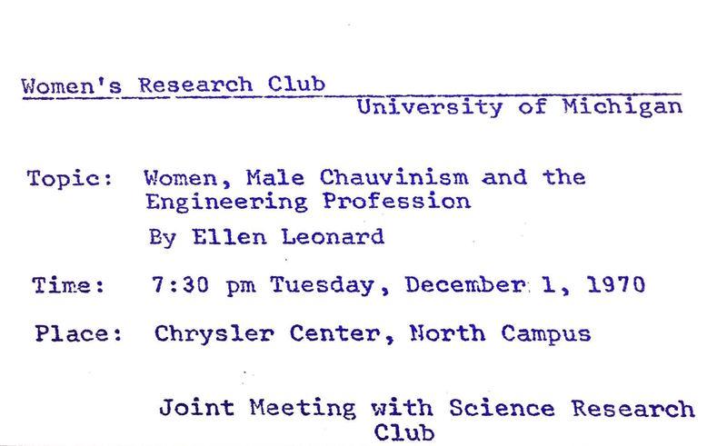 Women's Research Club Announcement