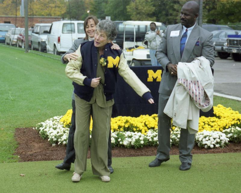 Phyllis Ocker receives honorary M letter jacket