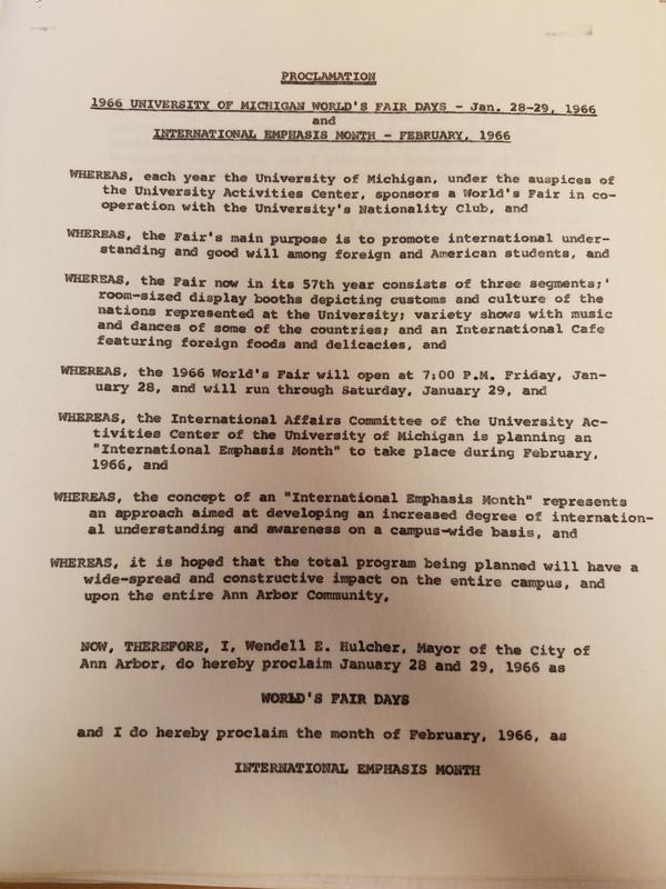 Mayor Hulcher's proclamation on the World's Fair