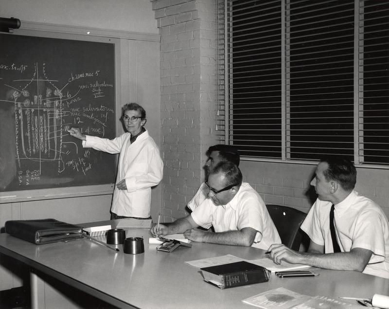 Elizabeth Crosby giving lecture on neuroanatomy