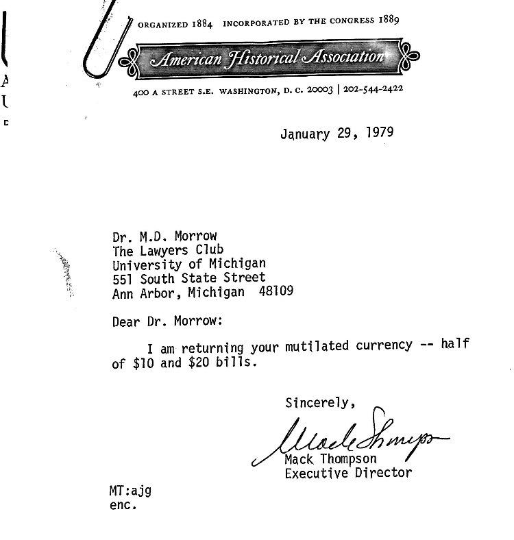 American Historical Association Letter