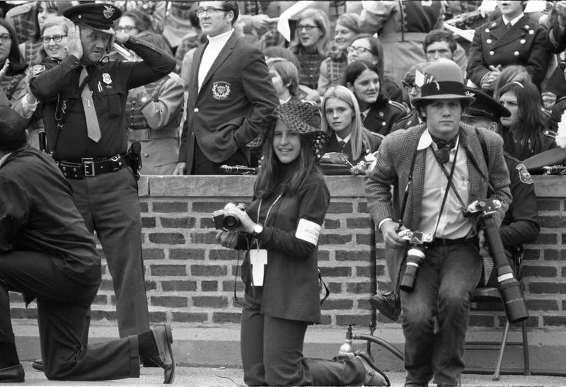 Sara Krulwich, Michigan Daily photographer, 1969 Vanderbilt game, first woman photographer on field at Michigan Stadium