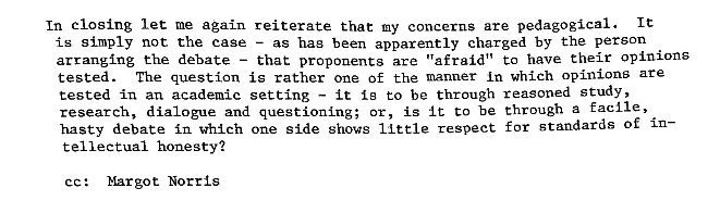 Margot Duley-Morrow Letter