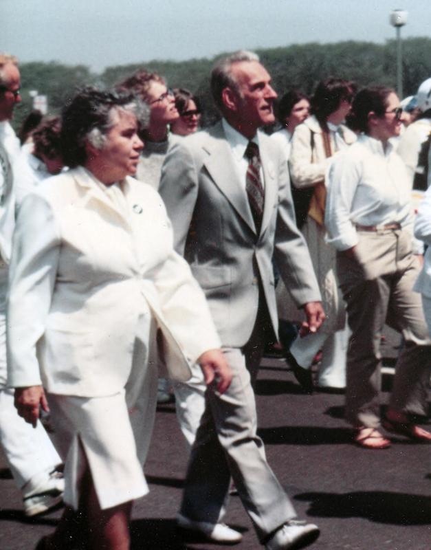 John & Jean Ledwith King, marching