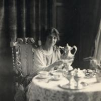 Dorothy MacEachron at tea in Martha Cook Dormitory