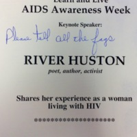 """Defaced flyer: """"Learn and Live"""" AIDS Awareness Week"""