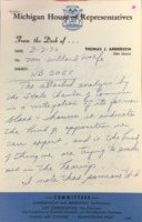 Opposition Memo from Thomas Anderson to Joan Wolfe, March 1970