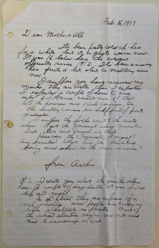 Life as Usual, Letter from Arthur Ehrlicher to his Family, February 16, 1917.