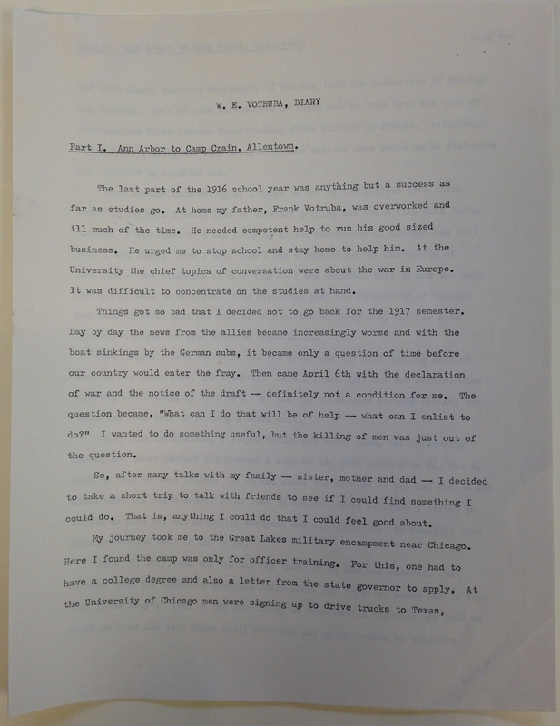 William Edward Vortuba Diary Part I