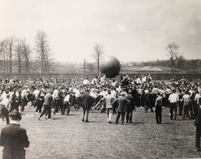 Freshman Sophomore Push ball contest, Ferry Field, 1907.