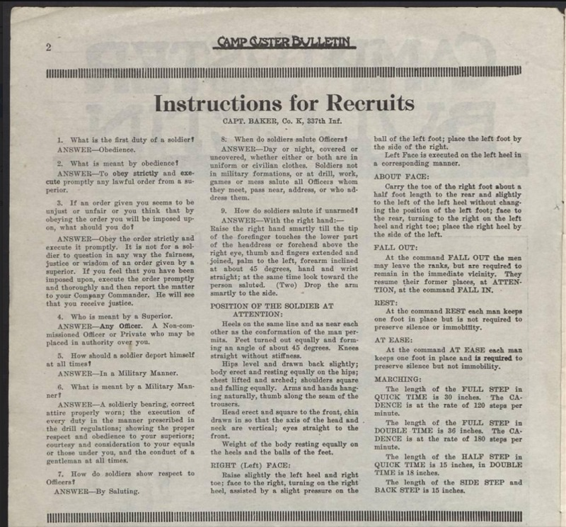 Instructions for Camp Custer Recruits