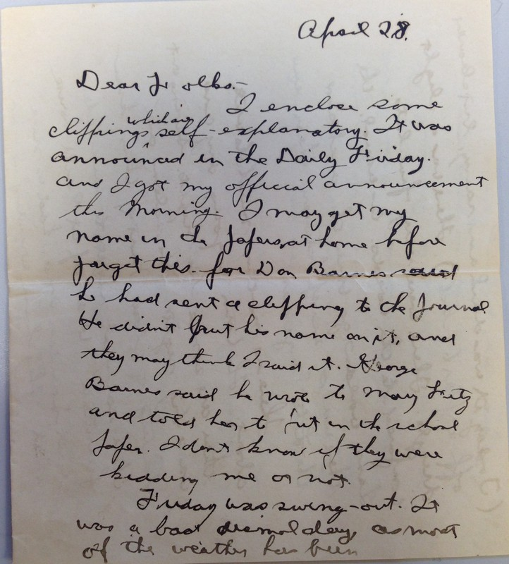 Letter from Arthur Ehrlicher to his parents, April 28, 1918.