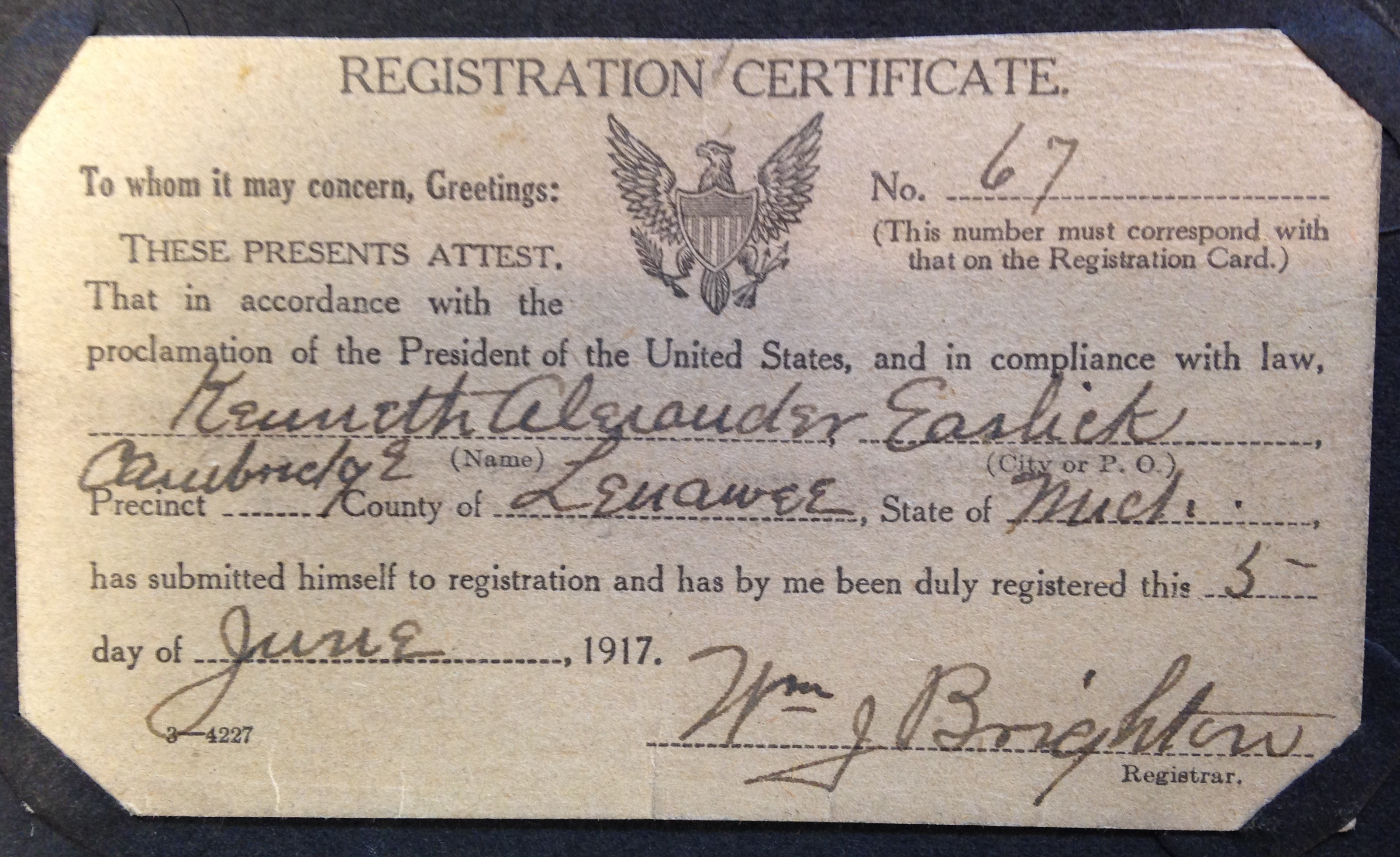 Kenneth Easlick Registration Card The University Of Michigan And