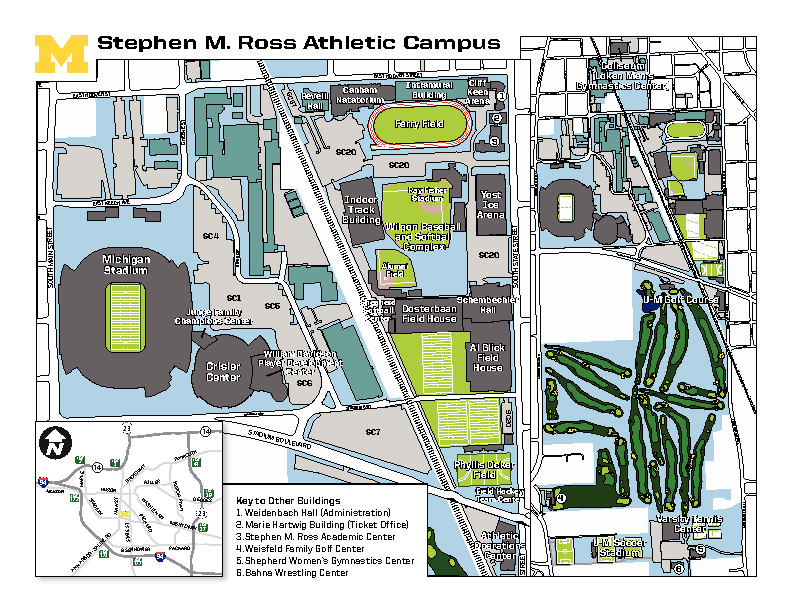 Map of Michigan Athletics
