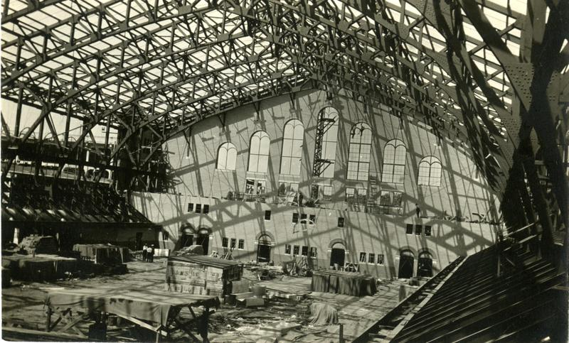 Construction of Yost Field house — indoor view