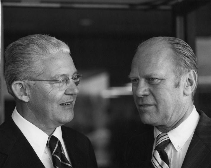 UM President Robben Fleming and Gerald Ford