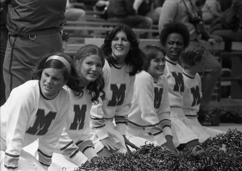 UM Football, First football cheerleaders (pom-pom girls),1974 Iowa game<br />