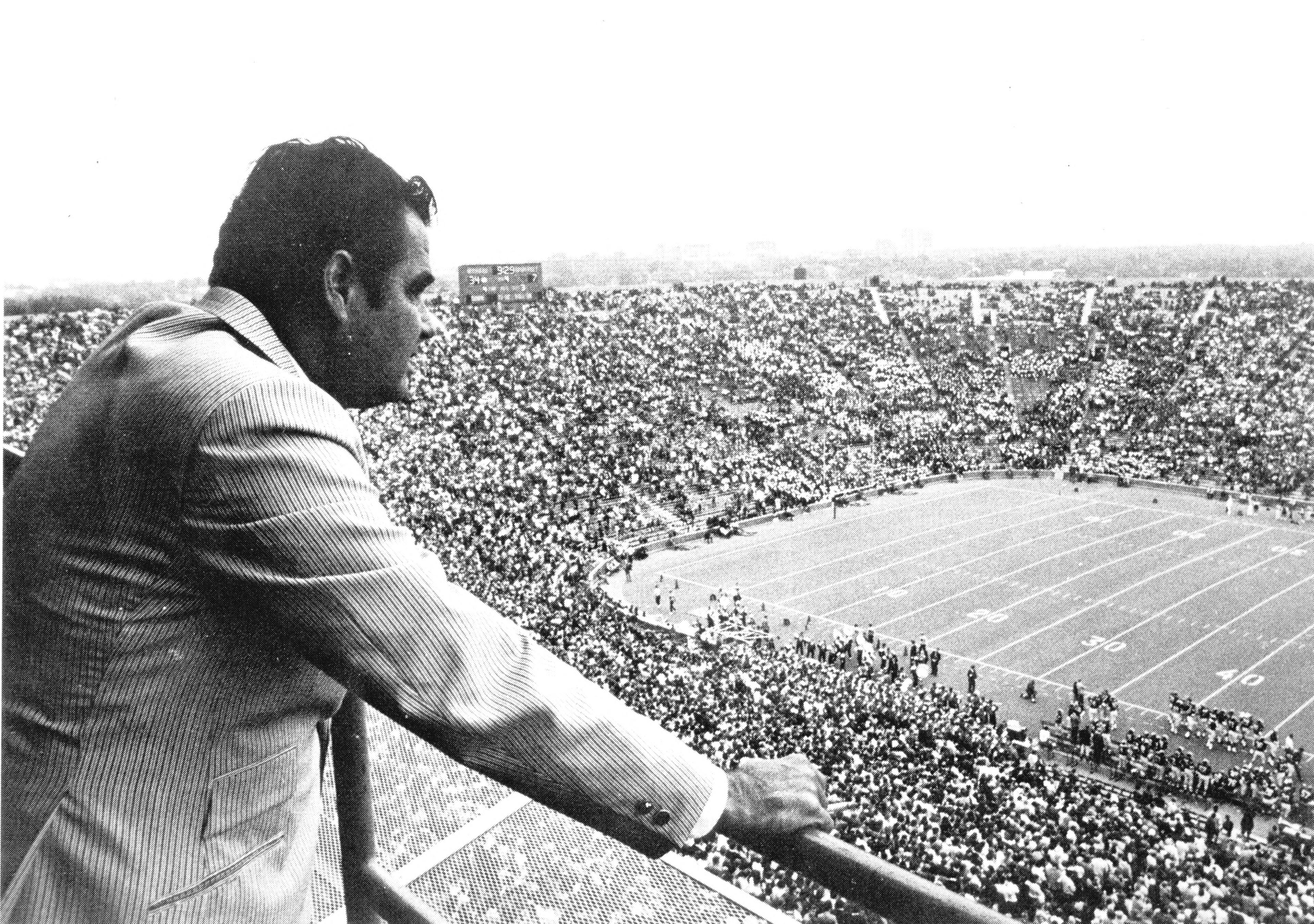 Don Canham at Michigan Stadium press box