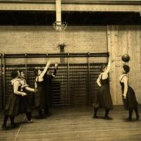 Women's Basketball, playing in Barbour Gymnasium, ca. 1904