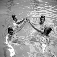 Women synchronized swimming at Women's Pool March 1969